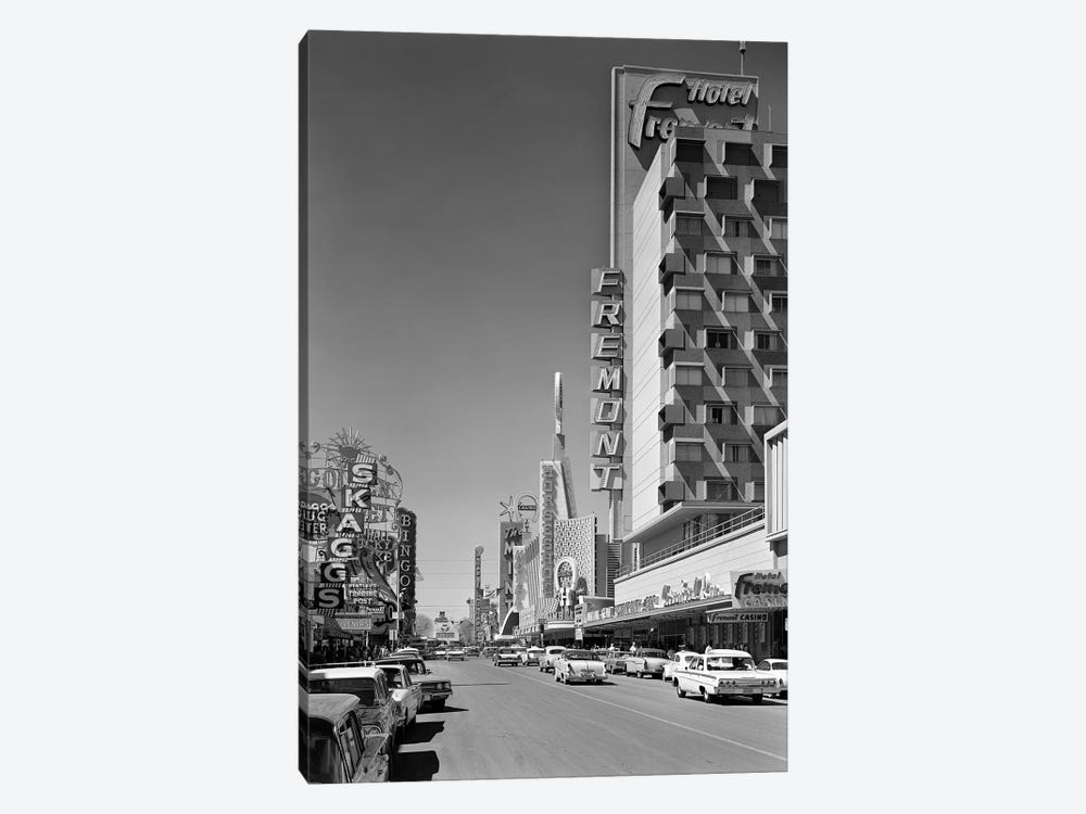 1960s View Down Freemont Street Downtown Las Vegas Nevada USA by Vintage Images 1-piece Canvas Wall Art