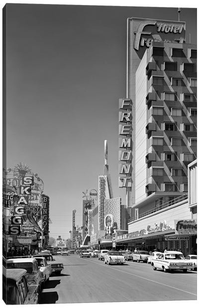 1960s View Down Freemont Street Downtown Las Vegas Nevada USA Canvas Art Print