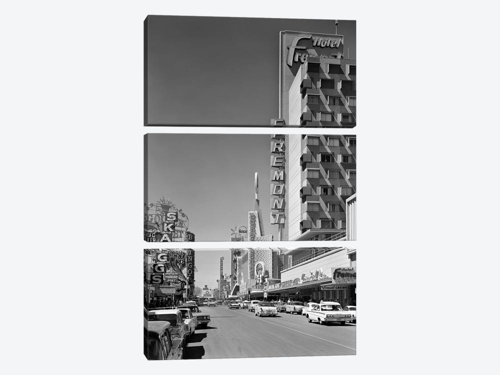 1960s View Down Freemont Street Downtown Las Vegas Nevada USA by Vintage Images 3-piece Canvas Wall Art