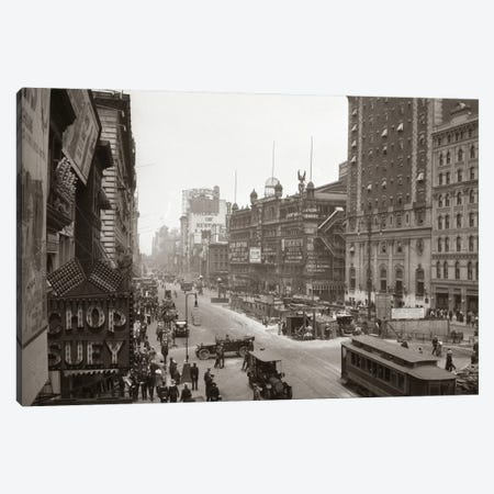 1920s Overhead Sixth Avenue Hippodrome Theater Car & Pedestrian Traffic Workers Digging Subway New York City NY USA Canvas Print #VTG46} by Vintage Images Canvas Art Print