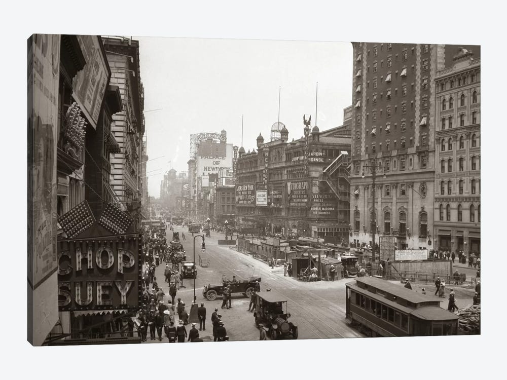 1920s Overhead Sixth Avenue Hippodrome Theater Car & Pedestrian Traffic Workers Digging Subway New York City NY USA 1-piece Canvas Artwork