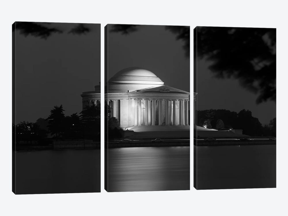 1960s Washington Dc Jefferson Memorial At Night by Vintage Images 3-piece Canvas Art