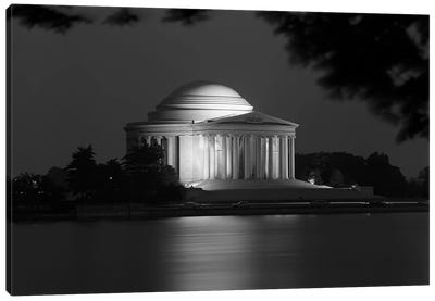 1960s Washington Dc Jefferson Memorial At Night Canvas Art Print
