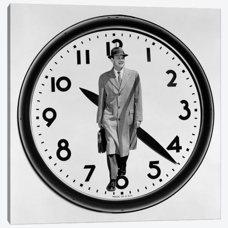 1960s-1950s Montage Business Man On Clock Face Canvas Print #VTG473} by Vintage Images Art Print