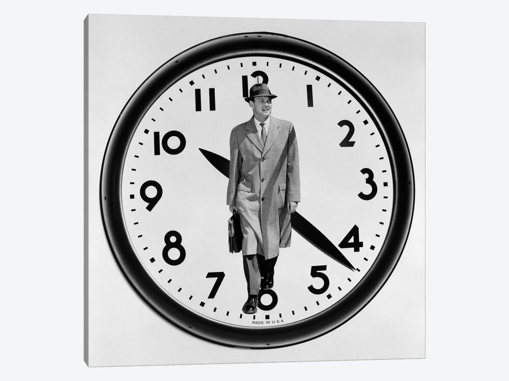 1960s-1950s Montage Business Man On Clock Face by Vintage Images 1-piece Art Print