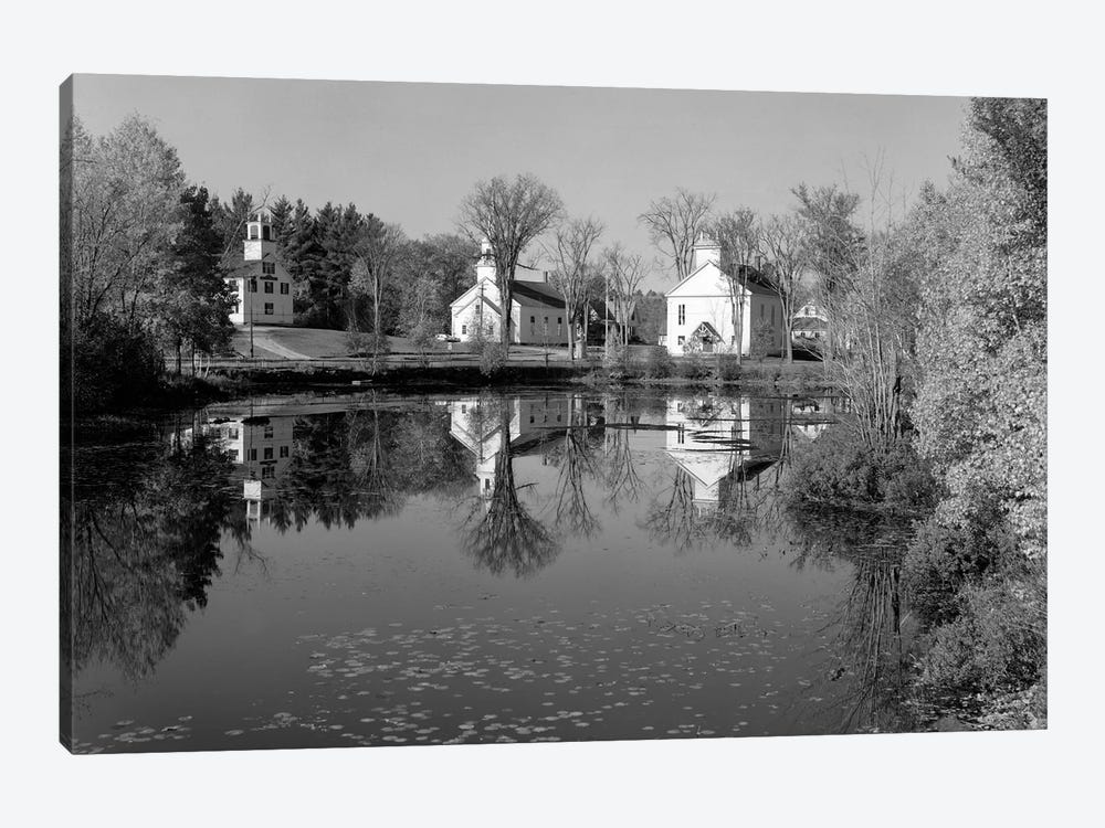 1960s-1950s Small Town White Public Buildings Around Lake Spring Church School Town Hall Washington NH USA by Vintage Images 1-piece Canvas Artwork