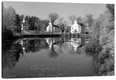 1960s-1950s Small Town White Public Buildings Around Lake Spring Church School Town Hall Washington NH USA Canvas Art Print
