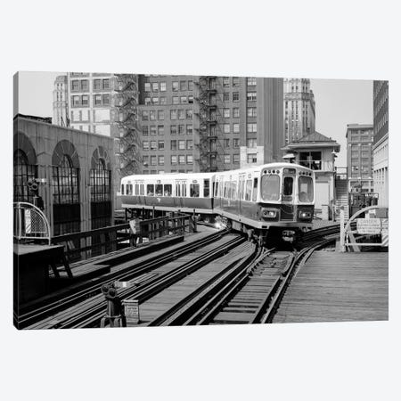 1960s-1970s Chicago Public Transportation El Train Turning Into The Loop On Wells Street Canvas Print #VTG475} by Vintage Images Canvas Art