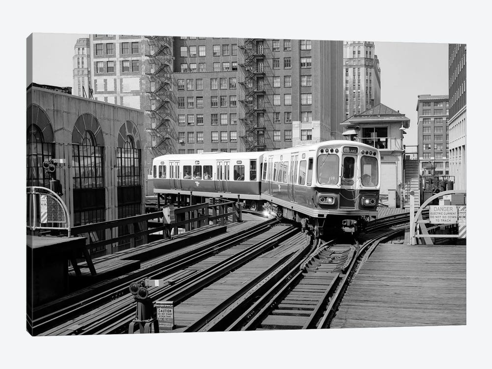 1960s-1970s Chicago Public Transportation El Train Turning Into The Loop On Wells Street by Vintage Images 1-piece Art Print