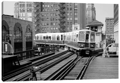 1960s-1970s Chicago Public Transportation El Train Turning Into The Loop On Wells Street Canvas Art Print