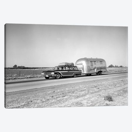 1960s-1970s Family Station Wagon And Camping Trailer Driving On Country Highway On Vacation Canvas Print #VTG476} by Vintage Images Canvas Artwork
