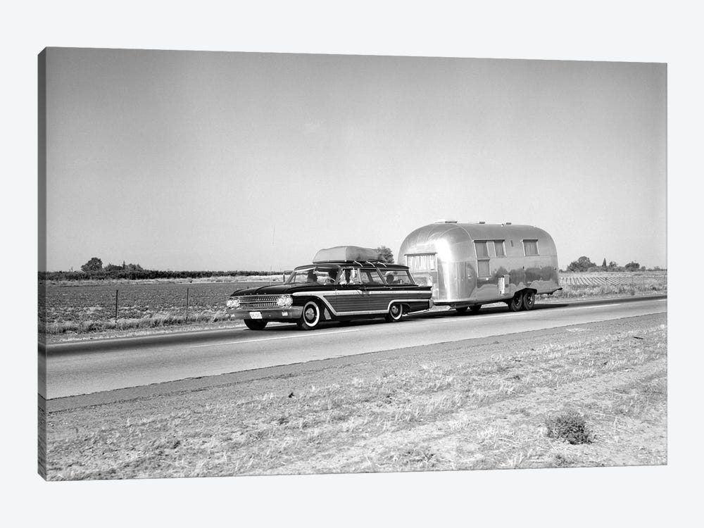 1960s-1970s Family Station Wagon And Camping Trailer Driving On Country Highway On Vacation by Vintage Images 1-piece Canvas Wall Art