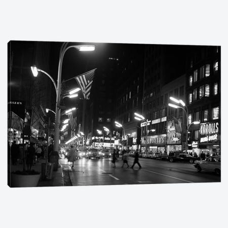 1963 Night Scene Of Busy Traffic On State Street Chicago Illinois USA Canvas Print #VTG477} by Vintage Images Canvas Wall Art