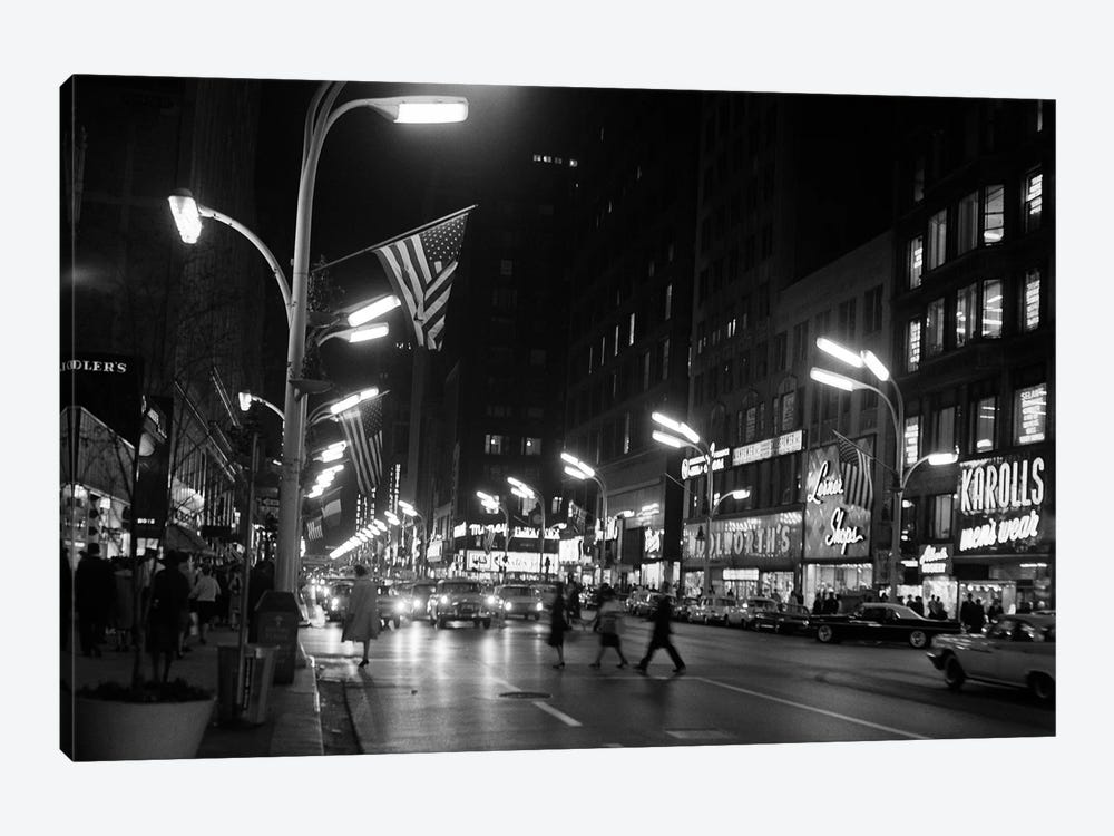 1963 Night Scene Of Busy Traffic On State Street Chicago Illinois USA by Vintage Images 1-piece Art Print