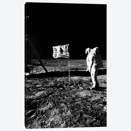 1969 Astronaut Us Flag And Leg Of Lunar Lander On The Surface Of The Moon Canvas Print #VTG478} by Vintage Images Canvas Print