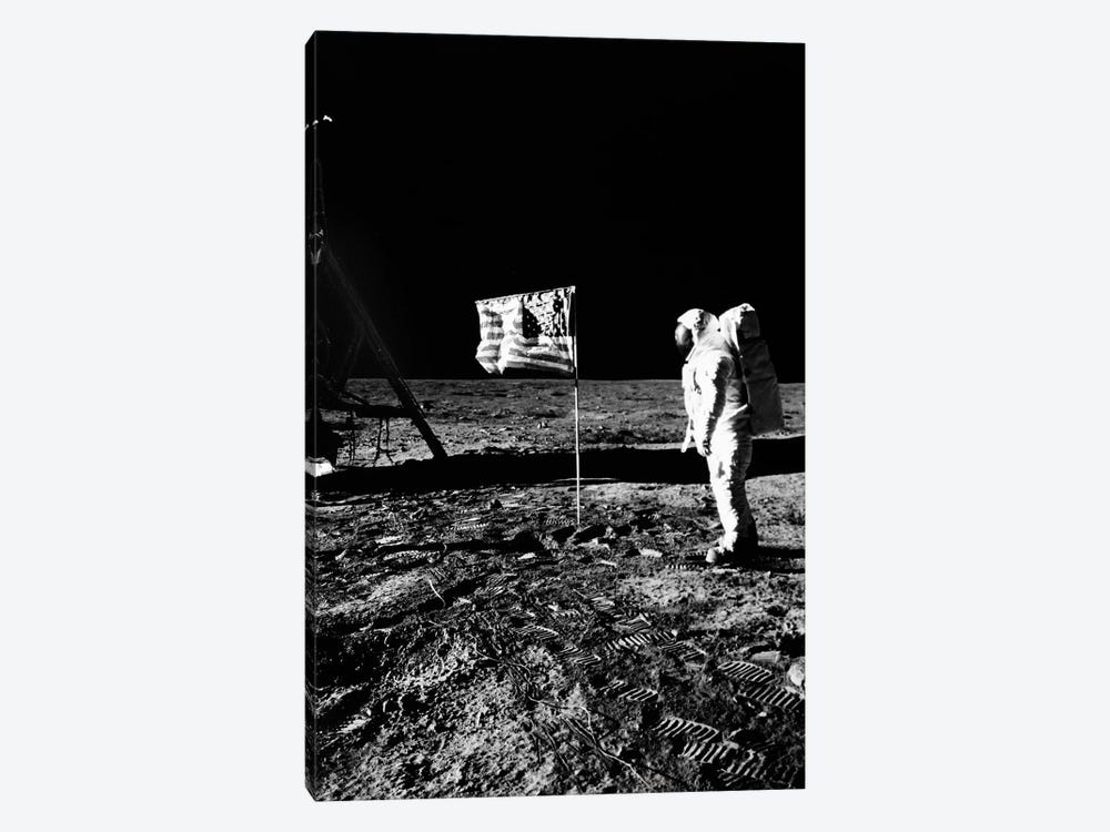 1969 Astronaut Us Flag And Leg Of Lunar Lander On The Surface Of The Moon by Vintage Images 1-piece Canvas Wall Art