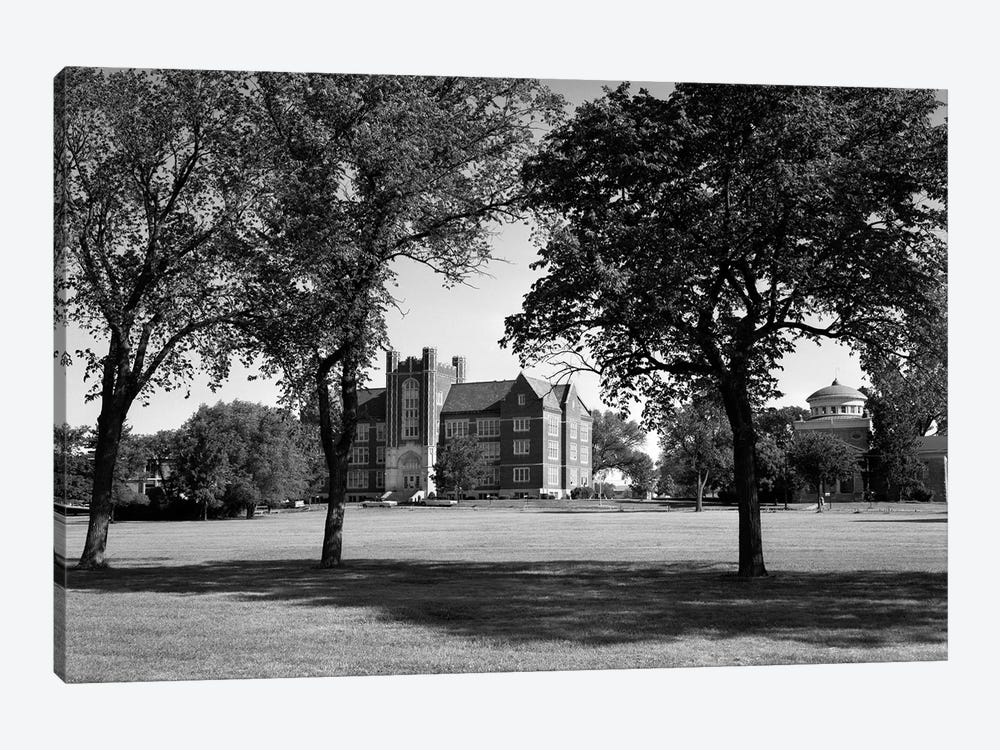 1970s Campus Of Emporia College In Kansas With Brick Buildings Nestled Among Trees 1-piece Canvas Print