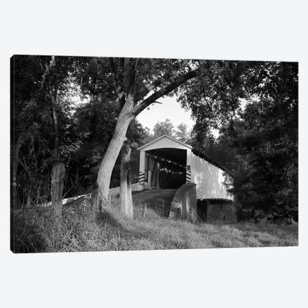1970s Covered Bridge In Rural Wooded Area Canvas Print #VTG480} by Vintage Images Canvas Art