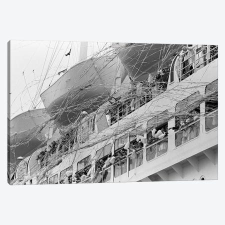 1970s Crowd Gathered On 2 Levels Of Deck Of Large Departing Cruise Ship Waving Pompoms With Paper Streamers Blowing Canvas Print #VTG481} by Vintage Images Canvas Wall Art