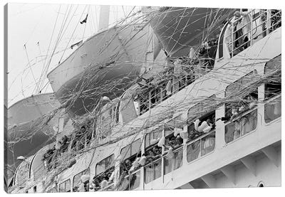 1970s Crowd Gathered On 2 Levels Of Deck Of Large Departing Cruise Ship Waving Pompoms With Paper Streamers Blowing Canvas Art Print