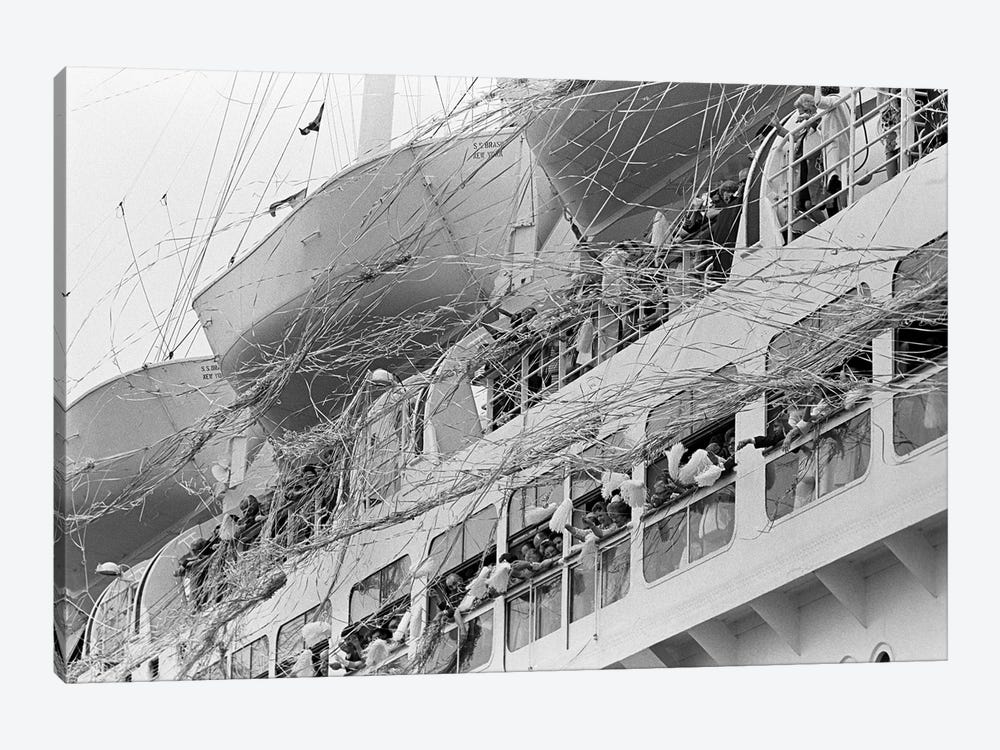1970s Crowd Gathered On 2 Levels Of Deck Of Large Departing Cruise Ship Waving Pompoms With Paper Streamers Blowing by Vintage Images 1-piece Canvas Art