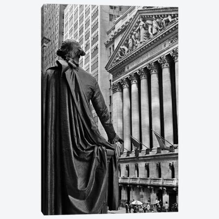 1970s New York City Stock Exchange On Wall Street From Federal Hall Behind George Washington Statue Canvas Print #VTG485} by Vintage Images Canvas Print