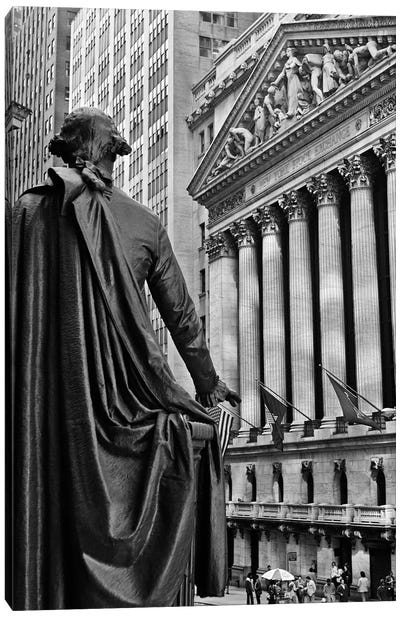 1970s New York City Stock Exchange On Wall Street From Federal Hall Behind George Washington Statue Canvas Art Print