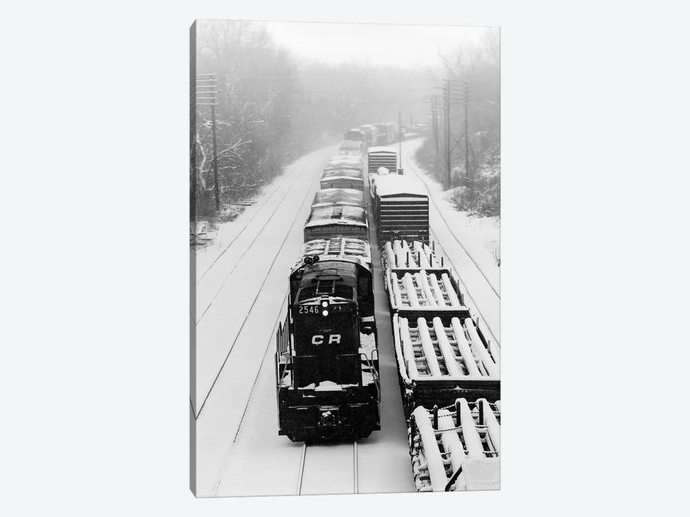 1970s Pair Of Freight Trains Traveling On Snow Covered Railroad Tracks 1-piece Art Print