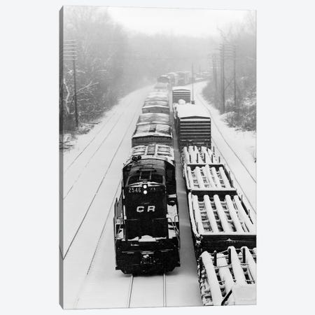 1970s Pair Of Freight Trains Traveling On Snow Covered Railroad Tracks Canvas Print #VTG486} by Vintage Images Art Print