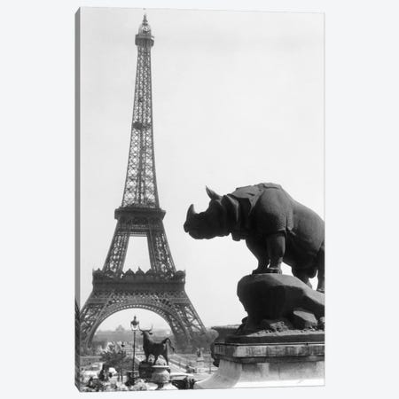 1920s Rhinoceros Statue In Foreground Eiffel Tower In Background Paris France Canvas Print #VTG48} by Vintage Images Canvas Art