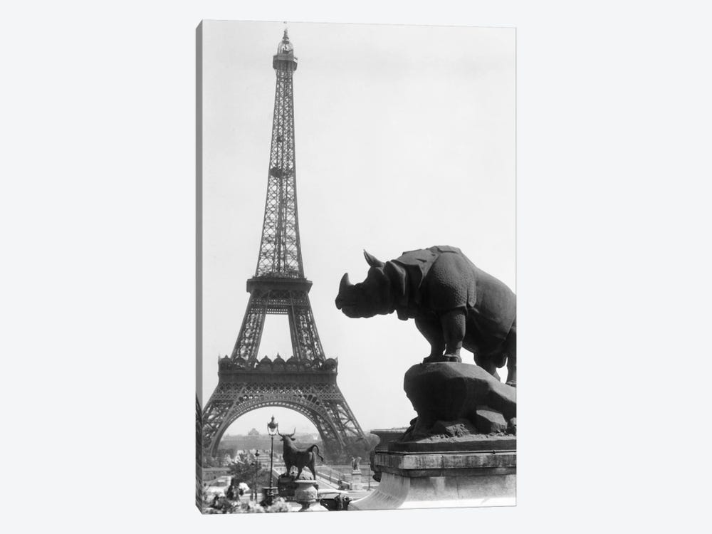 1920s Rhinoceros Statue In Foreground Eiffel Tower In Background Paris France by Vintage Images 1-piece Canvas Wall Art