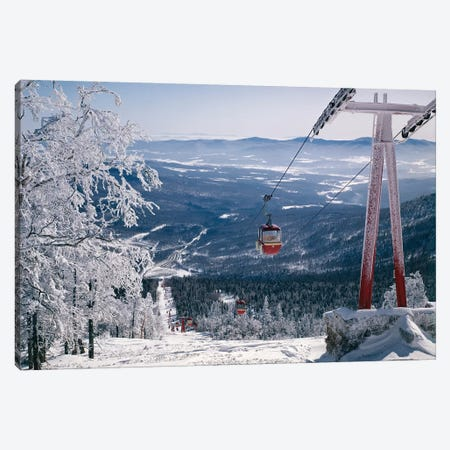 1970s Scenic From Top Of Mountain Ski Slope Looking Down Into Valley Ski Lift Red Cars Snow Vista Canvas Print #VTG490} by Vintage Images Art Print