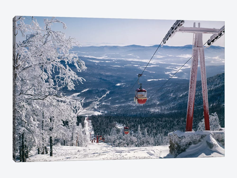 1970s Scenic From Top Of Mountain Ski Slope Looking Down Into Valley Ski Lift Red Cars Snow Vista 1-piece Canvas Art