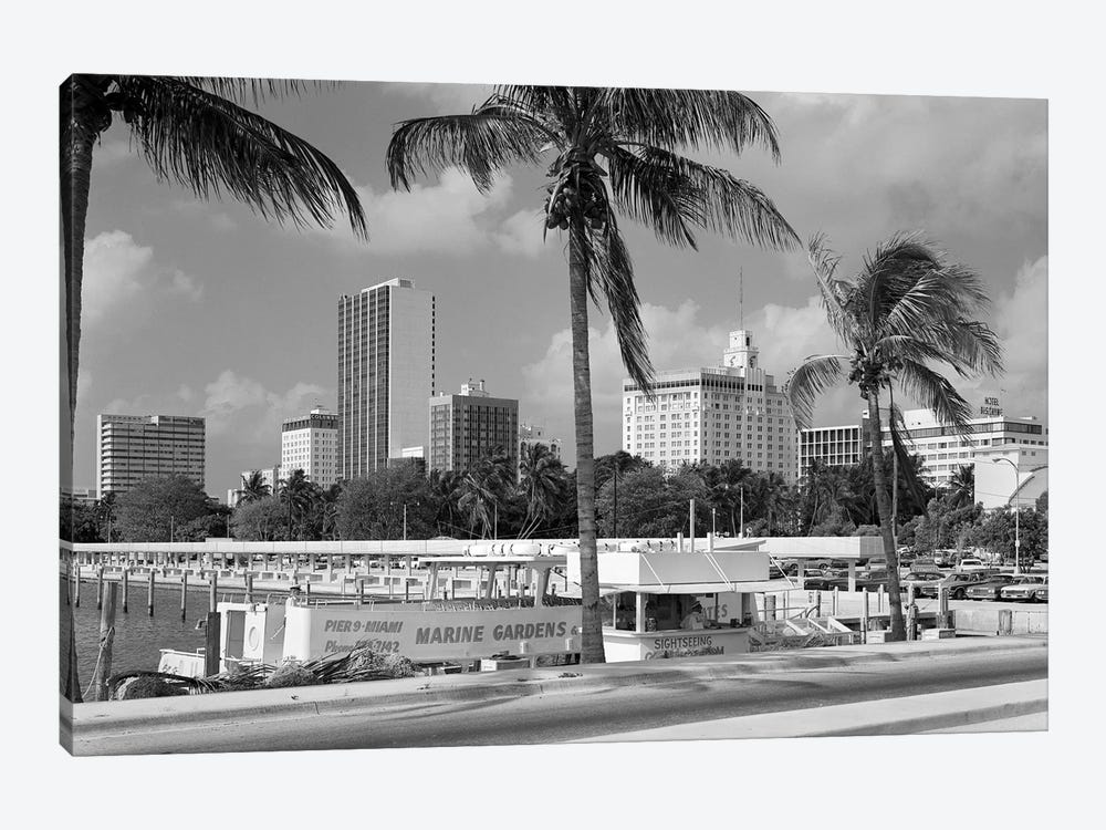 1970s Sightseeing Boat At Pier Day Light Skyline Palm Trees Miami Florida USA 1-piece Canvas Print