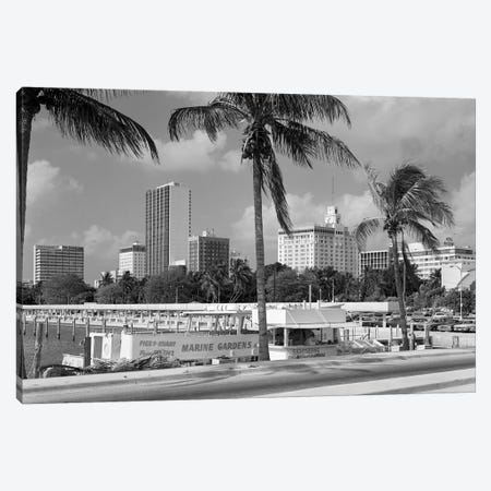1970s Sightseeing Boat At Pier Day Light Skyline Palm Trees Miami Florida USA 3-Piece Canvas #VTG491} by Vintage Images Canvas Print