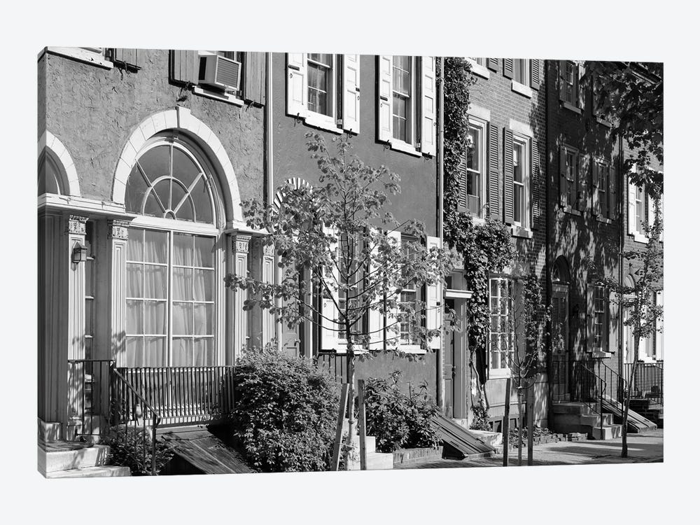 1970s Street Scene Residential Townhouses In Urban Inner City Philadelphia Pa USA by Vintage Images 1-piece Canvas Art