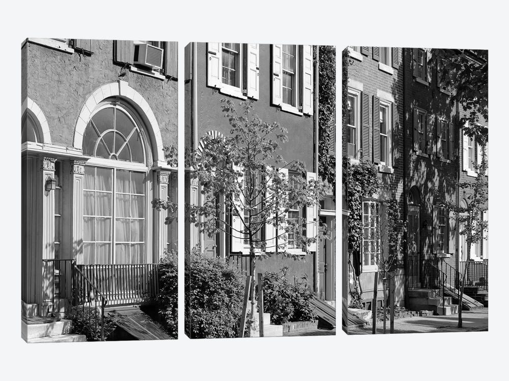 1970s Street Scene Residential Townhouses In Urban Inner City Philadelphia Pa USA by Vintage Images 3-piece Canvas Wall Art
