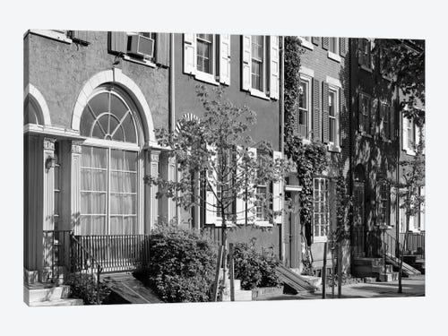 1970s Street Scene Residential Townhouses In Vintage Images Icanvas