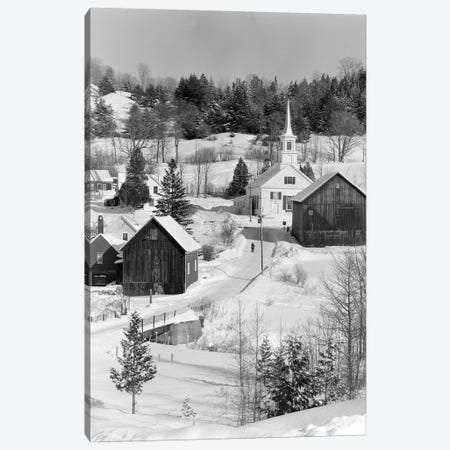 1970s Winter Scenic Of Waits River Junction Vermont USA Canvas Print #VTG496} by Vintage Images Canvas Wall Art