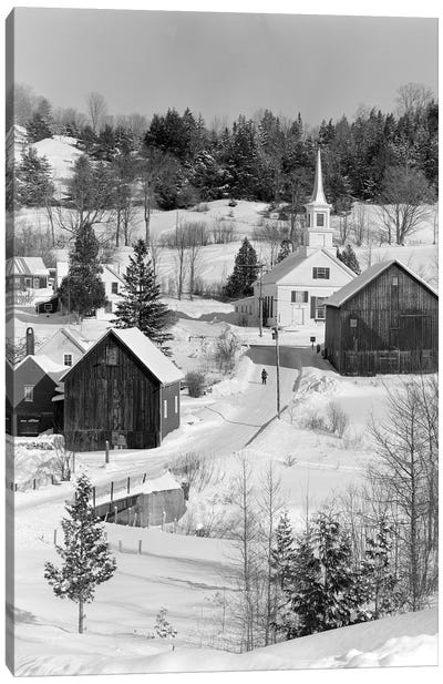 1970s Winter Scenic Of Waits River Junction Vermont USA Canvas Art Print