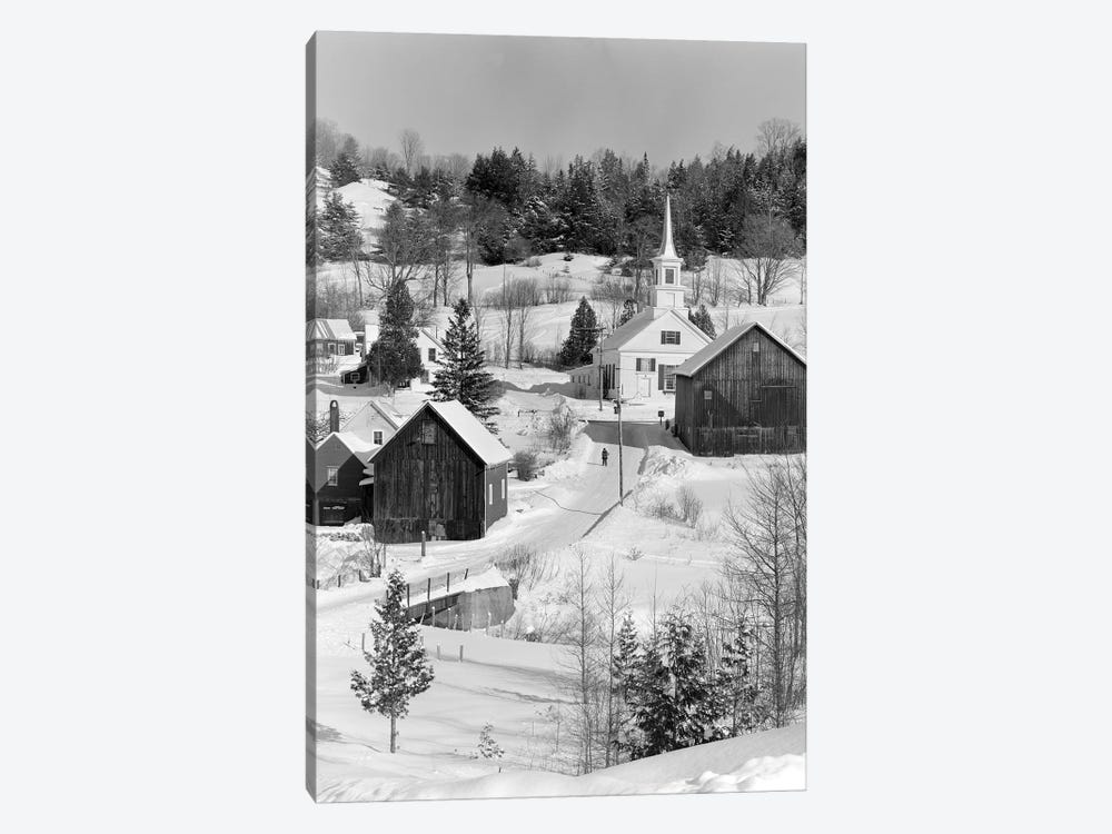 1970s Winter Scenic Of Waits River Junction Vermont USA by Vintage Images 1-piece Canvas Wall Art