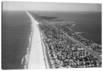 1970s-1980s Aerial Of Jersey Shore Barnegat Peninsula Barrier Island Seaside Park New Jersey USA Canvas Art Print