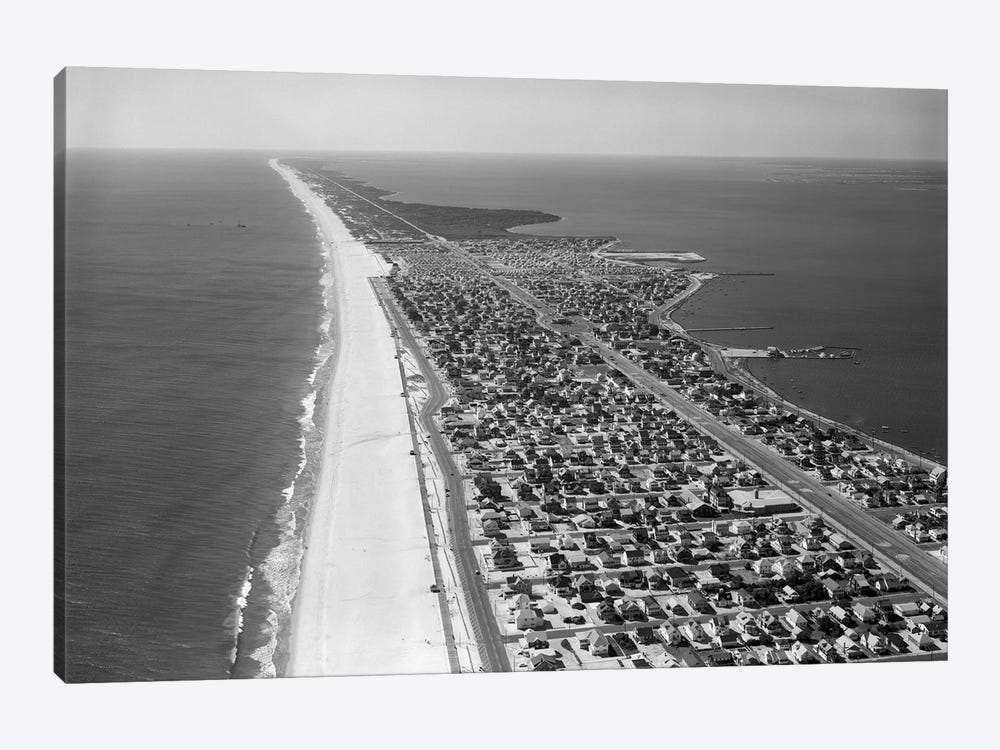 1970s-1980s Aerial Of Jersey Shore Barnegat Peninsula Barrier Island Seaside Park New Jersey USA by Vintage Images 1-piece Canvas Print