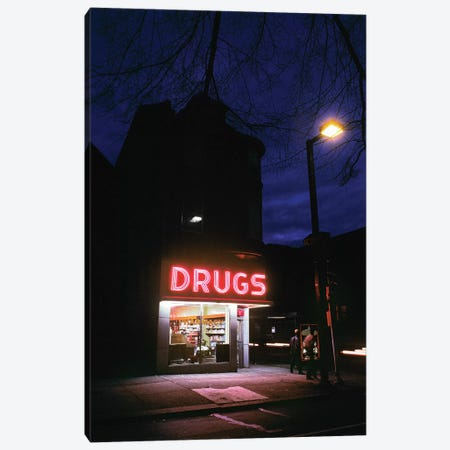 1980s 24 Hour Drug Store At Night Pink Neon Sign Drugs Canvas Print #VTG498} by Vintage Images Art Print