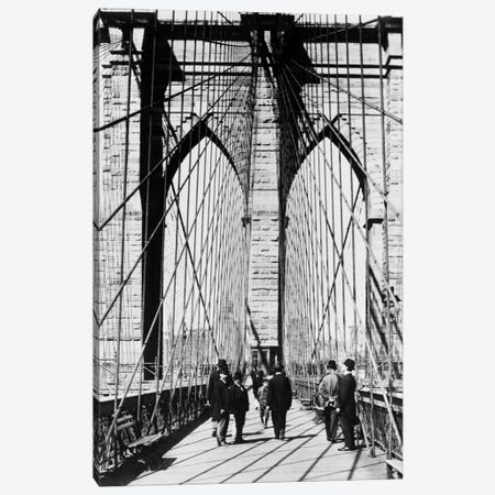 1880s Men Standing On Brooklyn Bridge Just After It Opened 1883 New York City USA Canvas Print #VTG4} by Vintage Images Canvas Art