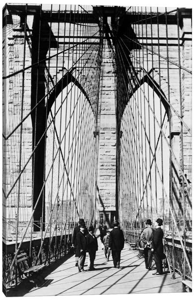 1880s Men Standing On Brooklyn Bridge Just After It Opened 1883 New York City USA Canvas Art Print
