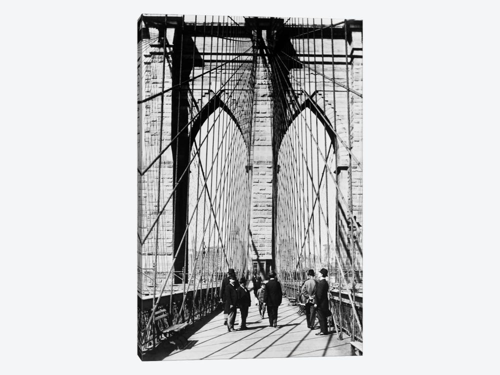 1880s Men Standing On Brooklyn Bridge Just After It Opened 1883 New York City USA by Vintage Images 1-piece Canvas Art