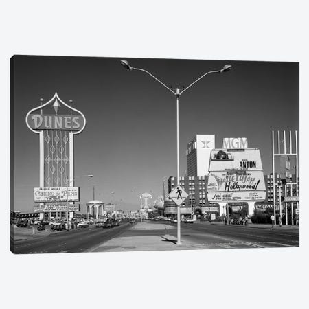 1980s Daytime The Strip With Signs For The Dunes MGM Flamingo Las Vegas Nevada USA Canvas Print #VTG500} by Vintage Images Canvas Art Print