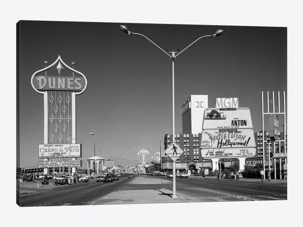 1980s Daytime The Strip With Signs For The Dunes MGM Flamingo Las Vegas Nevada USA by Vintage Images 1-piece Canvas Wall Art