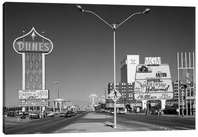 1980s Daytime The Strip With Signs For The Dunes MGM Flamingo Las Vegas Nevada USA Canvas Art Print